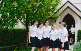 Bethany Catholic College Hurstville students talking at the courtyard