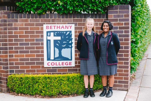 Bethany College Hurstville students standing in front of school gate